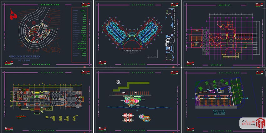 اسکرینشات مجموعه 20 نمونه پلان هتل