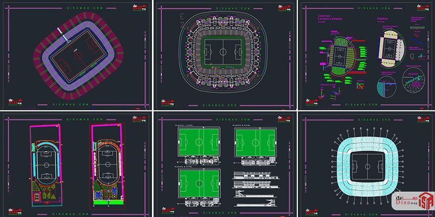 اسکرینشات مجموعه 20 نمونه پلان استادیوم فوتبال 1