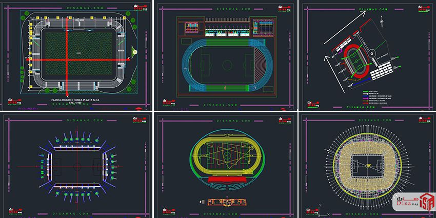 اسکرینشات مجموعه 20 نمونه پلان استادیوم فوتبال 2