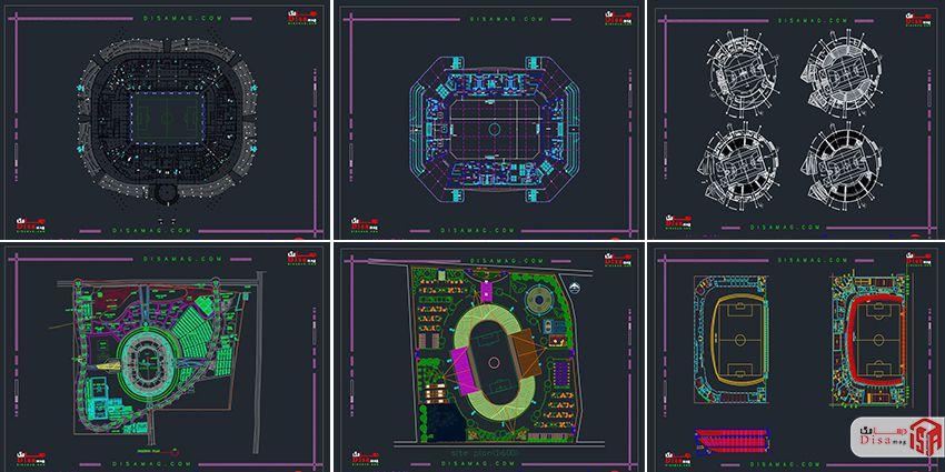 اسکرینشات مجموعه 20 نمونه پلان استادیوم فوتبال 3