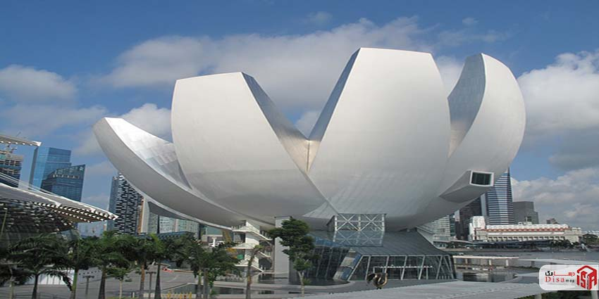 نمای پایین موزه هنر علم سنگاپور