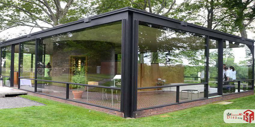 معماری خارج خانه شیشهای فیلیپ جانسون