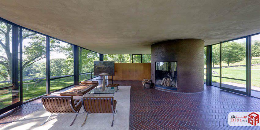 معماری داخلی خانه شیشهای فیلیپ جانسون