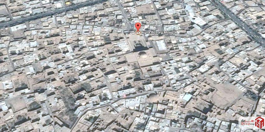 موقعیت مسجد مدرسه آقا بزرگ کاشان
