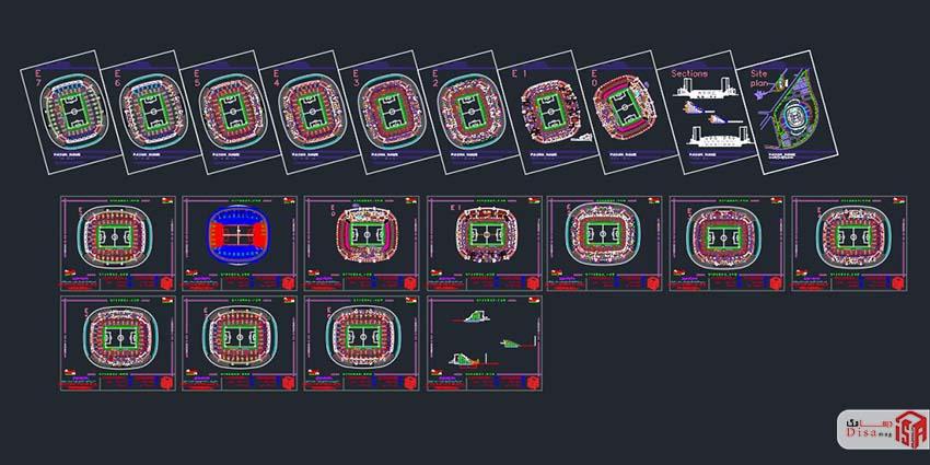 پلان پروژه کامل ورزشگاه فوتبال
