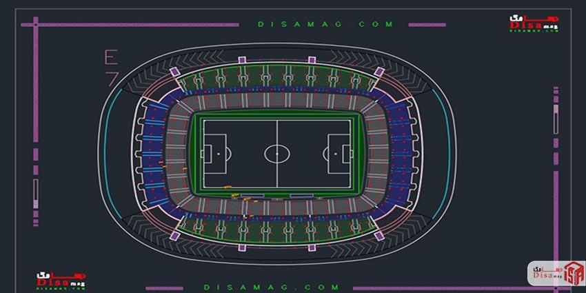 پلان پروژه کامل استادیوم فوتبال